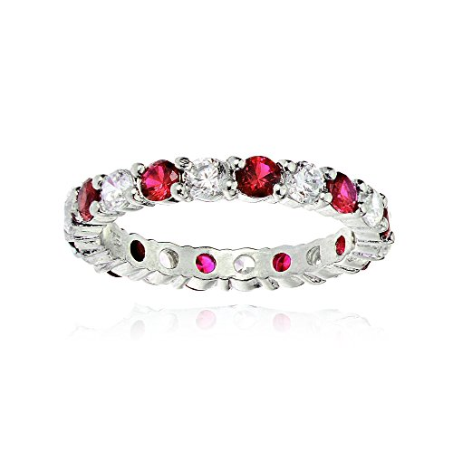 Sterling Silver Created Ruby and Cubic Zirconia Wedding Band Ring, Size 8 (Wedding Anniversary Band Ruby)