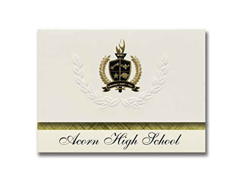 Signature Announcements Acorn High School (Mena, AR) Graduation Announcements, Presidential style, Basic package of 25 with Gold & Black Metallic Foil seal ()
