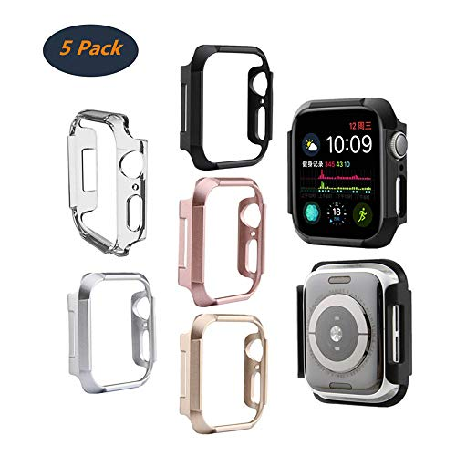 (Compatible with Apple Watch Series4 Case, FOLOME Armor Watch Case 40mm / 44mm Shock-Proof and Shatter-Resistant Protective Bumper Case (Black+Silver+Gold+Rose Gold+ Frosted Transparent,)