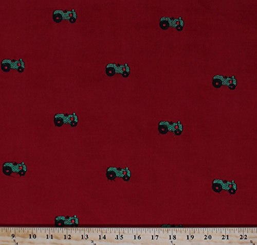 Fine-wale Corduroy Embroidered Green Farm Country Tractors Tractor on Red Fabric By the Yard (CD1997-524)