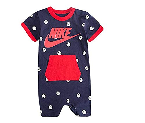 Nike Baby Boy Infant Shortall (Obsidian (56D544-695) / University Red/Smiley Face, 6-9 Months)