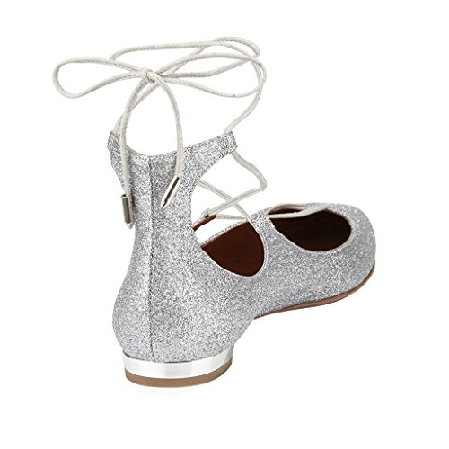 Ballet Ladies Loafer Shoes silver Shoes Lace Large Glitter Dress Toe Flat up Pumps Jushee for Size Pointed Women Fancy Gorgeous SvBpB