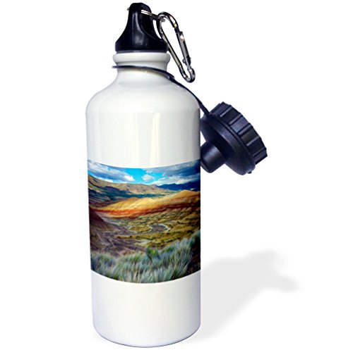 3dRose Oregon. Landscape of The Painted Hills Unit, John Day Fossil Beds NM. -Sports Water Bottle, 21oz (wb_190782_1), 21 oz Multicolor