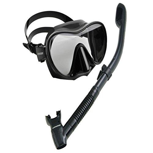 Cressi Scuba Diving Snorkeling Freediving Mask Snorkel Set, All Black Dive Mask Snorkel