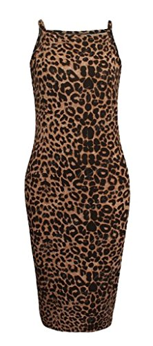Brown Strappy Dress - RM Fashions Womens Printed High Square Neck Strappy Camisole Fit Bodycon Midi Dress (1X-Large, Brown Leopard)