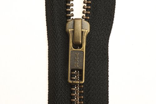 YKK Open End Zip - Black Tape - Antique Metal Tooth/Finish - Heavy Duty - Hd-3 - 6/7/8/9/11/16/17/18/19/20/21/22/23/24/25/26/27/28/29/30/31/32/33/34/35/36/37/38/39/40 Inch (31 Inch (78.5 Cm)) Black - Antique Coat