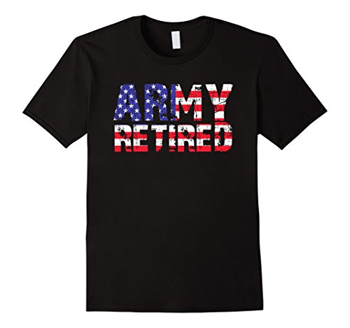 Mens Retired Army T-Shirt. US ARMY Retirement Gift XL Black