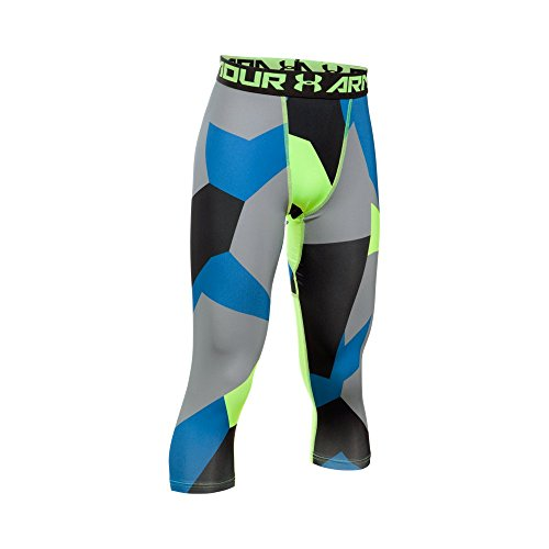 Under Armour Boys' HeatGear Armour Printed ¾ Legging, Quirky Lime/Quirky Lime, Youth X-Small