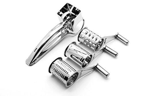 shenghai Rotary Shredder, Slicer o Zester–Rallador de queso, acero inoxidable trituradora para cocina con 3tambores...