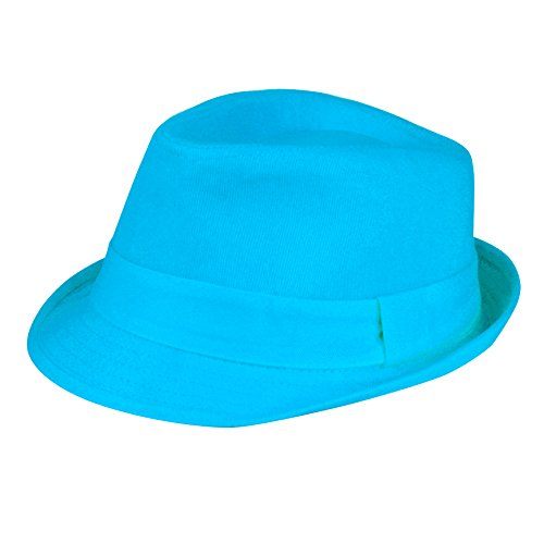 Women's Colorful Cotton Blend Trilby Fedora Hat (Turquoise)