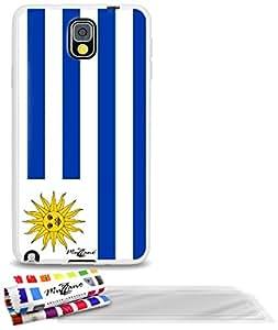 """Carcasa Flexible Ultra-Slim SAMSUNG N9000 de exclusivo motivo [Bandera Uruguay] [Blanca] de MUZZANO  + 3 Pelliculas de Pantalla """"UltraClear"""" + ESTILETE y PAÑO MUZZANO REGALADOS - La Protección Antigolpes ULTIMA, ELEGANTE Y DURADERA para su SAMSUNG N9000"""
