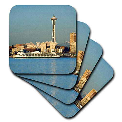 3dRose CST_95907_3 Wa, Seattle, Space Needle and Ferry Boat-Us48 Jwi1087-Jamie and Judy Wild-Ceramic Tile Coasters, Set of 4