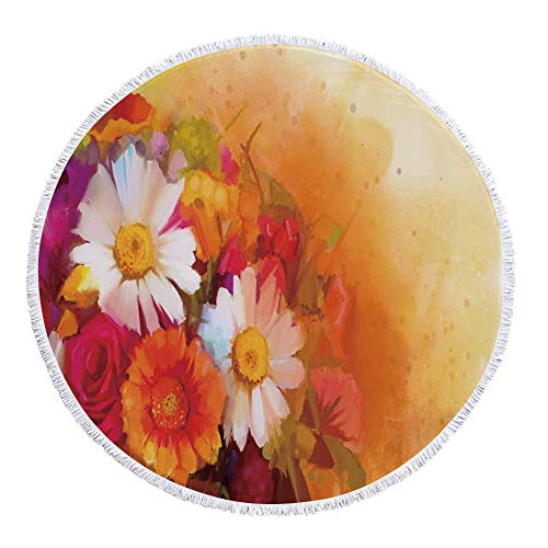 iPrint Thick Round Beach Towel Blanket,Floral,Vivid Flower Bouquet with Roses Daisy Gerbera Blossoms Flourishing Artwork,Orange Magenta White,Multi-Purpose Beach (Magenta Photographic Dye)