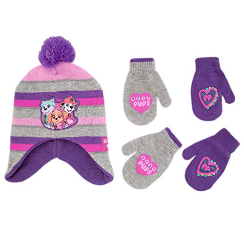 (Nickelodeon Little Girls Paw Patrol Character Hat and 2 Pair Mittens or Gloves Cold Weather Set, Age 2-7 (Toddler Girls Age 2-4 Hat & 2 Pair Mittens Set, Grey/Purple))