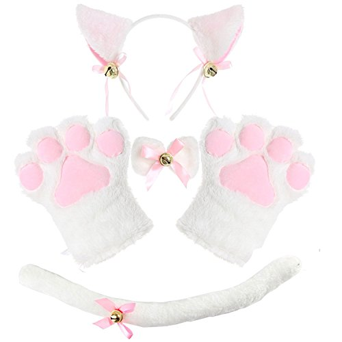 Adult Cat Costume Tail Ears Collar Paws Gloves Anime Lolita Gothic Cat Cosplay Set (Glitter Cat Collar)