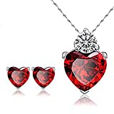 stunning red heart pendant necklace and stud earrings - valentines day jewelry gift set for women,