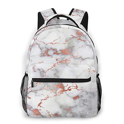 Rose Gold Marble White Backpck, Large Capacity Shoulder Bag Travel and Sport Backpack Rucksack, College School Bookbag Casual Daypack Climbing Shoulder Bag Laptop Backpack