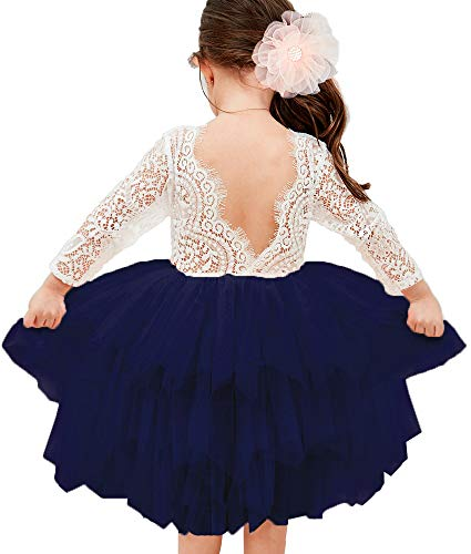 Topmaker Backless A-line Lace Back Flower Girl Dress (1T, Sleeve-Ivory)