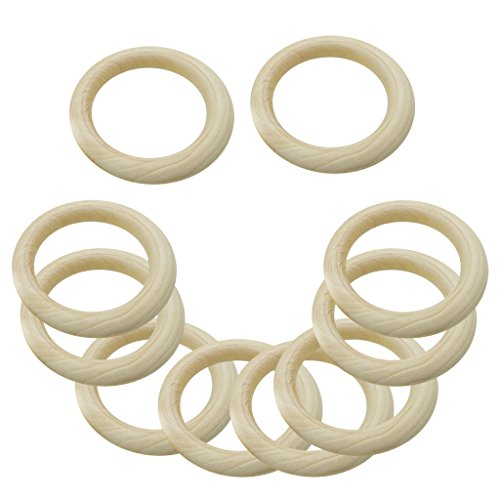 20Pcs Multifunction DIY Teether Rings Wooden Teething Rings for Toddler Toys
