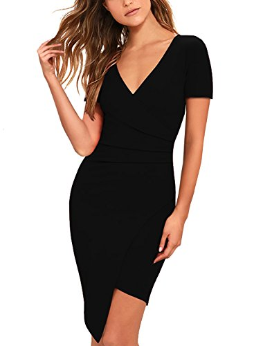 Women Bodycon Dress Party Casual V Neck Ruched Wrap Pencil Cocktail Dresses 258 (Black Short, XL) (Little Black Ruched Dress Short Dress)