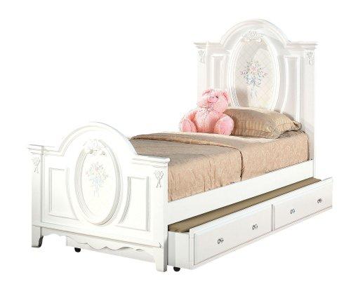 White Full Panel Bed (ACME 01677F Flora Panel Bed, Full, White Finish)