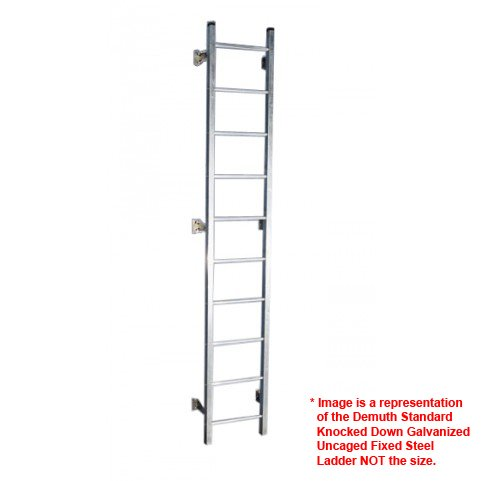 Standard Fixed Steel Ladder - Demuth Standard Knocked Down Galvanized Uncaged Fixed Steel Ladders (Super Ladder Sections with Hardware) (6' High (5' 6