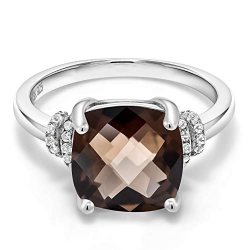 Gem Stone King 925 Sterling Silver Brown Smoky Quartz Women Ring (3.36 Ct Cushion Checkerboard) (Size 7)