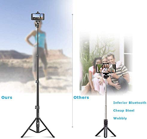 "Selfie Stick & Tripod Fugetek, Integrated, Portable All-In-One Professional, Heavy Duty Aluminum, Lightweight, Bluetooth Remote For Apple & Android Devices, Non Skid Tripod Feet, Extends To 51"", Black"