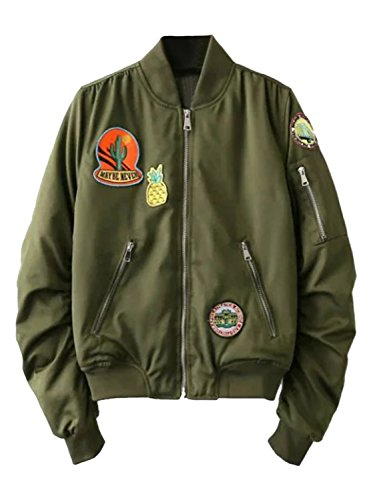 Joeoy Women's Army Green Zip Up Long Sleeve Patch Padded Bomber Jacket (Patch Bomber)