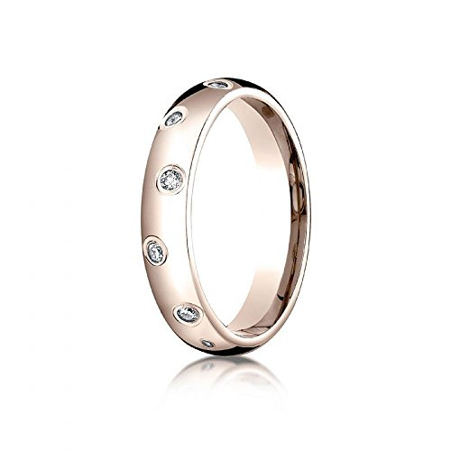 14k Rose Gold 4mm Comfort-Fit Burnish Set 12-Stone Diamond Eternity Ring (.24ct) - Size 12.5 by Wedding Bands Wholesale
