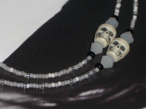 Beaded Eyeglass Chain Boney Skulls White Glass Seed Beads 28 inches Fancy - Preppy Eyeglasses