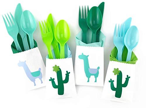 Blue Mint Llama Cutlery - 24 Set Fiesta Party Decor Cactus Baby Shower Birthday