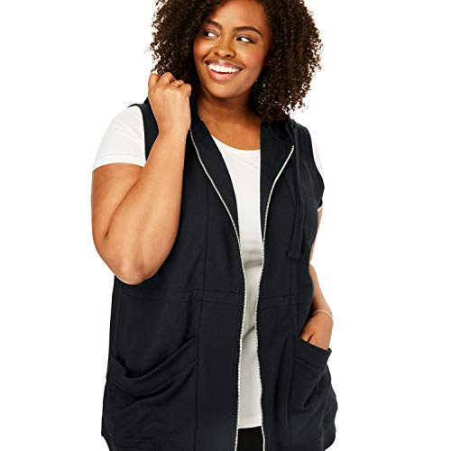 Woman Within Women's Plus Size Zip-Front Hooded Tunic Vest - Black, 22/24 ()