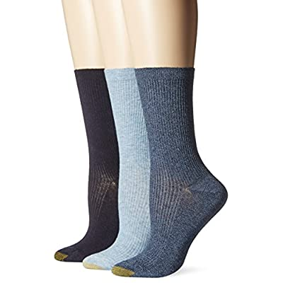 Gold Toe Women's Non-Binding Extended Size Rib Crew Sock (Pack of 3), Chambrey/Navy Marl/Navy, 10-12 at Women's Clothing store