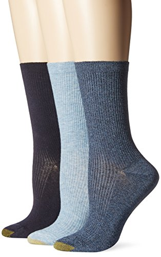 Gold Toe Women's Non-Binding Extended Size Rib Crew Sock (Pack Of 3), Chambrey Marl/Navy, 10-12