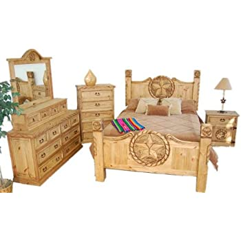 Rustic / Western King Size Lone Star Bedroom Set