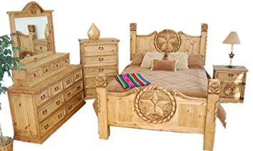 Lovely Rustic / Western King Size Lone Star Bedroom Set
