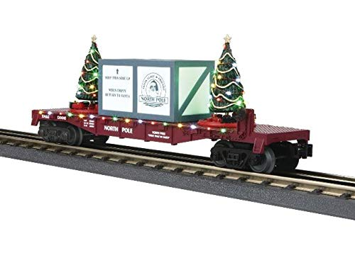 Mth Trains Blue - MTH 30-76735 Marroon North Pole Flat Car w/Lighted Christmas Trees