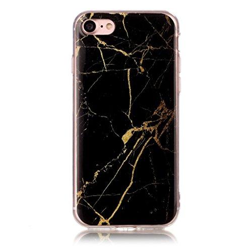 Crisant Schwarzgold Marmor Drucken Design weich Silikon TPU schutzhülle Hülle für Apple iPhone 7 4.7'' (4,7''),Premium Handy Tasche Schutz Case Cover Crystal Bumper Schale für Apple iPhone 7 4.7'' (4,