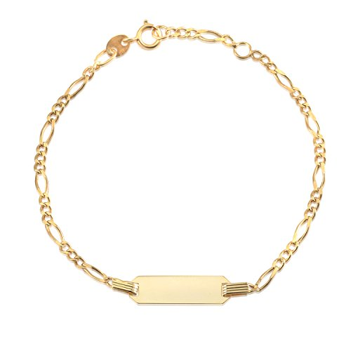 Childrens 14k Gold Id Bracelet - UNICORNJ 14K Yellow Gold Figaro Chain ID Bracelet 6