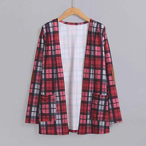 Fashion Carreaux Femme Manches Vintage Tops Longues Blouson El Cardigan 7v5Xq6X