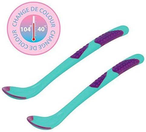 Kiokids 1398 unisex Set de 2 cucharas silicona con sensor de calor color rosa