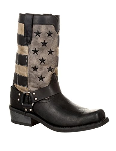 Durango Men's Patriotic Faded Flag Motorcycle Boot Square Toe Black 13 (Square Toe Harness Boot)