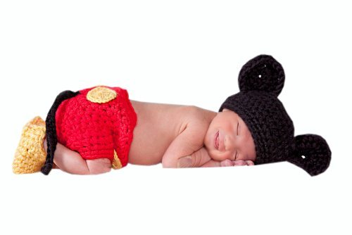 Disney Cute Costumes (Photography Prop Baby Costume Cute Crochet Knitted Hat Diaper Shoes Mickey)