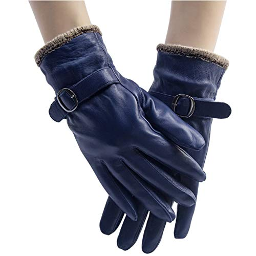 Ayliss Women Winter Leather Gloves Warm Driving Gloves Cashmere Lined Sheepskin Mittens (Navy)