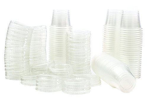 Disposable 4 oz Jello Shot Plastic Portion Cups with Lids, Clear Condiment Cups, Sampling Cup Pack of 100 (4 oz)