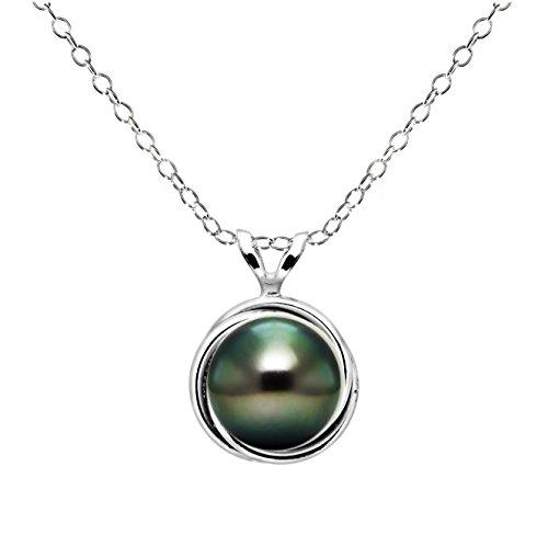 Argent sterling 8-8,5mm rond Noir perle de culture de Tahiti Love-knot Cadre Motif pendentif, 45,7cm