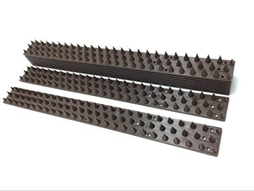 Bird Spikes Durable Pigeon Repellent Anti-Climbing Security for Fence Walls, Pack of 10PCS, 14.5FT Brown