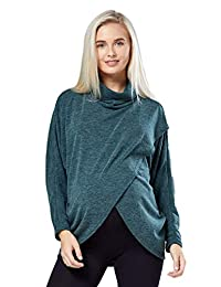 Zeta Ville - Womens Maternity Nursing Top Thin Knit Layered Wrap Design - 370c