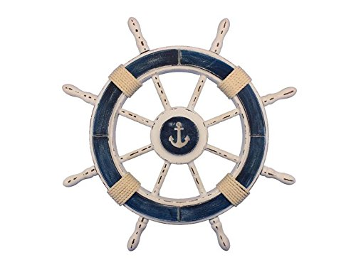 Handcrafted Nautical Decor Rustic Dark Blue and White Decorative Ship Wheel with Anchor 24″ – Wooden Ships For Sale